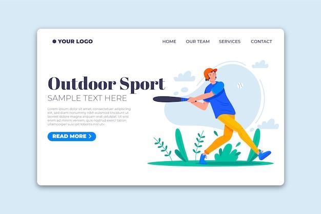 Plantilla de diseño plano de página de aterrizaje de deporte al aire libre