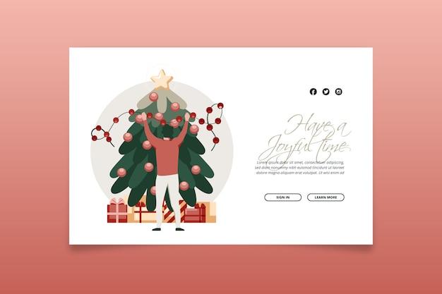 Plantilla de diseño plano de página de aterrizaje de navidad
