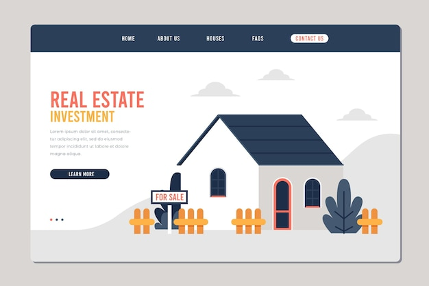 Plantilla de diseño plano de página de destino de bienes raíces con casa