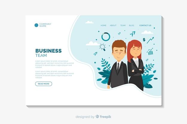 Plantilla de diseño plano de página de destino de negocios