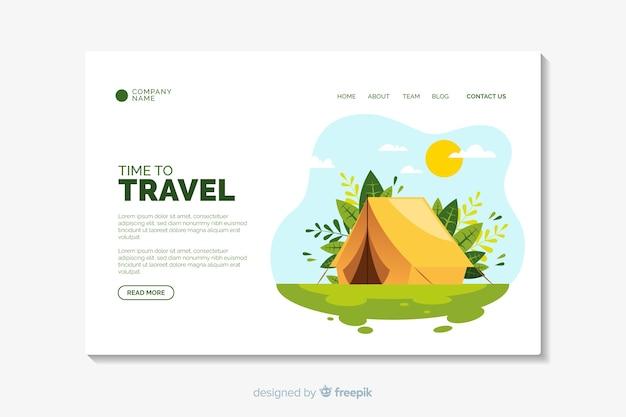 Plantilla de diseño plano de página de destino de viaje