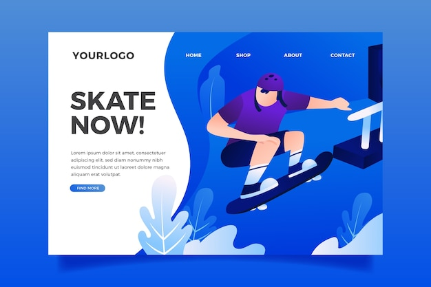 Plantilla de diseño plano página de inicio de deporte al aire libre