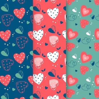 Plantilla de diseño plano de patrón de corazón