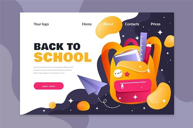 Plantilla de diseño plano de regreso a la página de inicio de la escuela