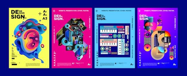 Plantilla de diseño de portada y cartel para revista.