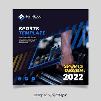 Plantilla de diseño de portada de deporte con foto