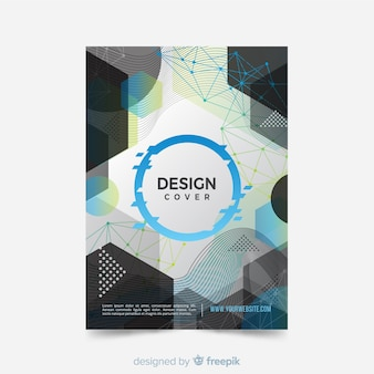 Plantilla de diseño de portada con estilo abstracto