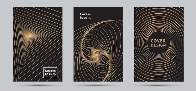 Plantilla de diseño de portada fondo abstracto de línea dorada