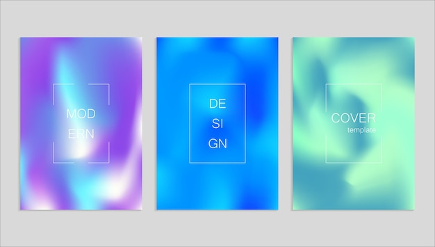 Plantilla de diseño de portada fuid vector abstracto mínimo. fondo degradado de holografía.