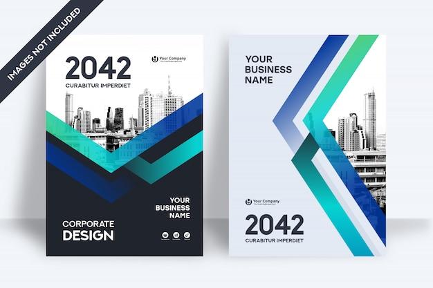 Plantilla de diseño de portada de libro de negocios de fondo de la ciudad