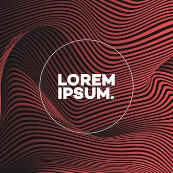 Plantilla de diseño de portada con líneas abstractas estilo degradado moderno de color rojo para libro de decoración