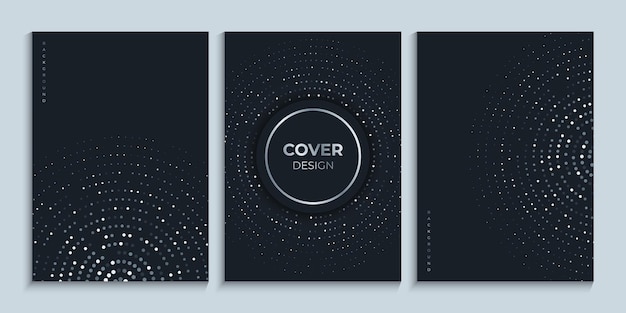Plantilla de diseño de portada negra con círculos brillantes
