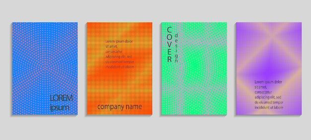 Plantilla de diseño de portada de semitono de vector abstracto mínimo.