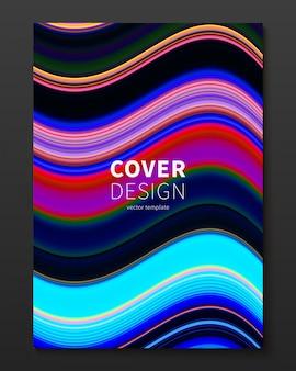 Plantilla de diseño de portada de vector con líneas deformadas de color degradado.