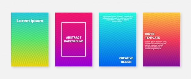 Plantilla de diseño de portadas modernas abstractas. cuatro fondos geométricos mínimos. gradientes fríos