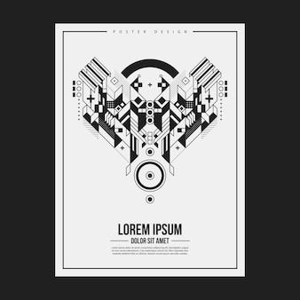 Plantilla de diseño de póster / impresión con elemento abstracto simétrico sobre fondo blanco. útil para portadas de libros y revistas.