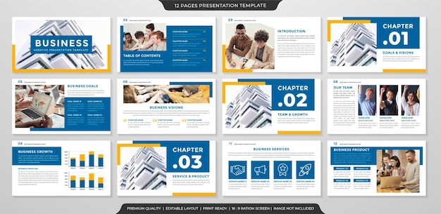 Plantilla de diseño de presentación minimalista con uso de estilo moderno y limpio para el informe anual