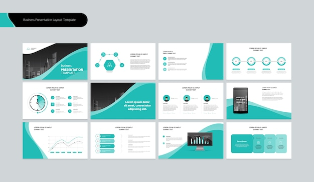 Plantilla de diseño de presentación de negocios y diseño de diseño de página para el informe anual de negocios