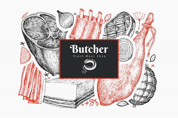 Plantilla de diseño de productos cárnicos vector vintage. jamón elaborado a mano, salchichas, jamón, especias y hierbas. ilustración retro. se puede utilizar para el menú del restaurante.