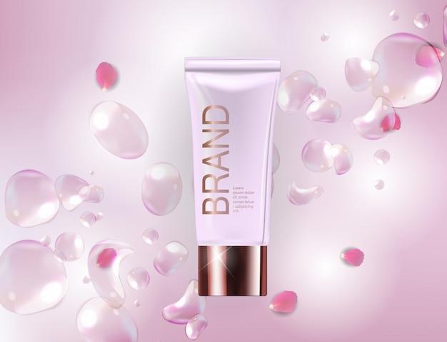 Plantilla de diseño de productos cosméticos para anuncios o fondo de revistas