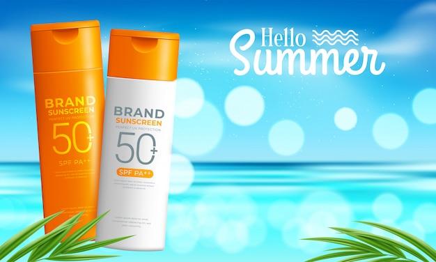 Plantilla de diseño de productos cosméticos de protección solar