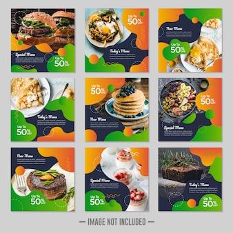 Plantilla de diseño de publicación de banner de redes sociales de comida de restaurante