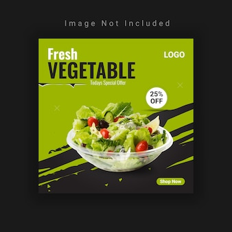 Plantilla de diseño de publicación de redes sociales de alimentos vegetales frescos