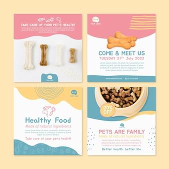 Plantilla de diseño de publicaciones de instagram de alimentos para animales