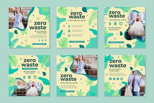 Plantilla de diseño de publicaciones de instagram de desperdicio cero