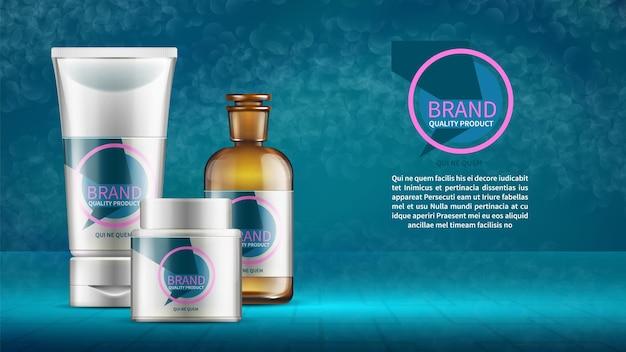 Plantilla de diseño de publicidad de cosméticos con tubos de botellas de productos