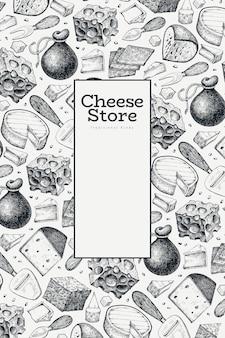 Plantilla de diseño de queso. dibujado a mano ilustración láctea. grabado estilo diferentes tipos de queso banner. fondo de comida vintage.