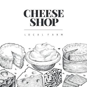 Plantilla de diseño de queso. dibujado a mano ilustración láctea. grabado estilo diferentes tipos de queso. fondo de comida vintage.
