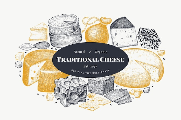 Plantilla de diseño de queso. dibujado a mano ilustración vectorial de lácteos