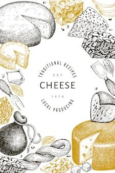 Plantilla de diseño de queso. ilustración de lácteos de vector dibujado a mano. bandera de diferentes tipos de queso de estilo grabado. fondo de comida vintage.