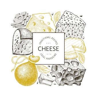 Plantilla de diseño de queso. ilustración de lácteos de vector dibujado a mano.