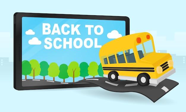Plantilla de diseño de regreso a la escuela con autobús escolar corriendo a la escuela.