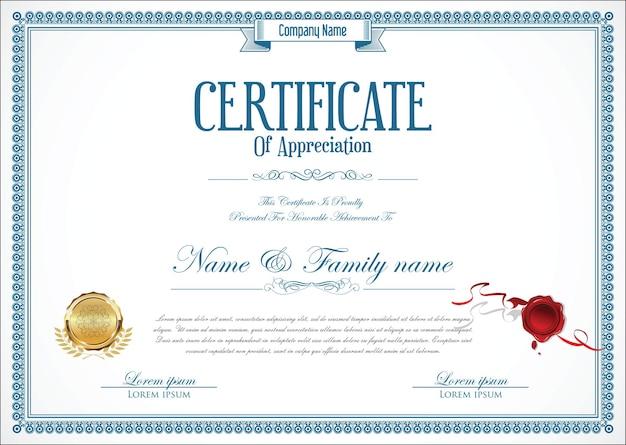 Plantilla de diseño retro certificado o diploma