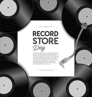 Plantilla de diseño retro del día mundial de la tienda de récords