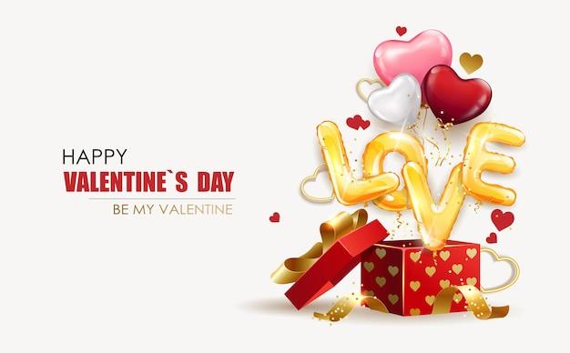Plantilla de diseño de san valentín. caja de regalo abierta con globos en forma de corazón e inscripción de amor hecha de globos de helio. promoción y plantilla de compras o fondo de vacaciones. ilustración vectorial