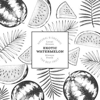 Plantilla de diseño de sandía y hojas tropicales. ilustración de frutas exóticas de vector dibujado a mano. marco de frutas estilo grabado. bandera botánica retro.
