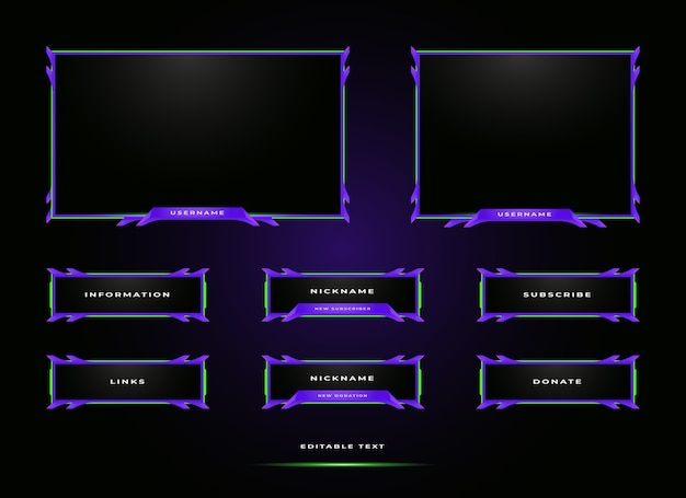 Plantilla de diseño de superposición de panel de transmisión de twitch
