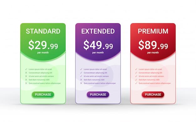 Plantilla de diseño de tabla de comparación de precios para tres productos,