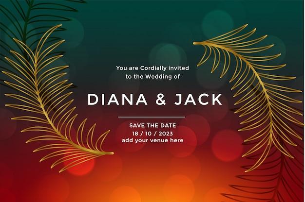 Plantilla de diseño de tarjeta de boda de lujo premium