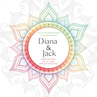 Plantilla de diseño de tarjeta de boda mandala decorativa