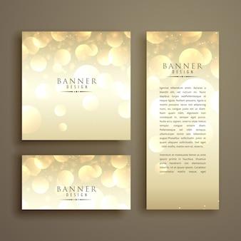 Plantilla de diseño de tarjeta de bokeh brillante