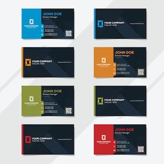 Plantilla de diseño de tarjeta corporativa con varias opciones de color