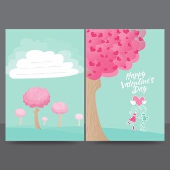 Plantilla de diseño de tarjeta de felicitación de love tree valentine