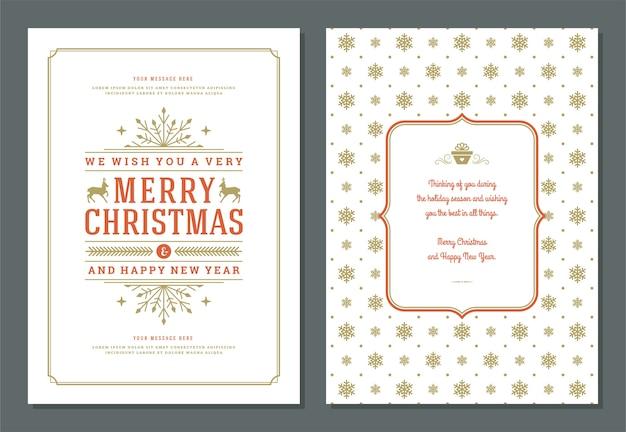 Plantilla de diseño de tarjeta de felicitación de navidad con ilustración de vector de etiqueta de decoración