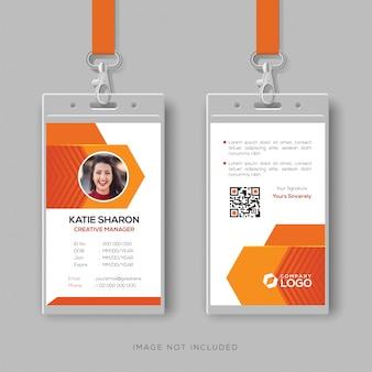 Plantilla de diseño de tarjeta de identificación abstracta naranja