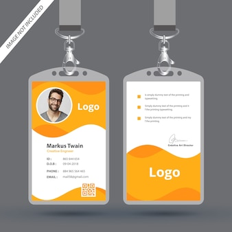 Plantilla de diseño de tarjeta de identificación de empleado simple y limpia